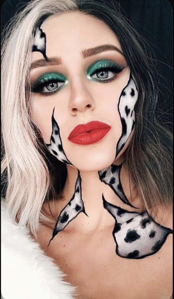 maquillage halloween Cruella